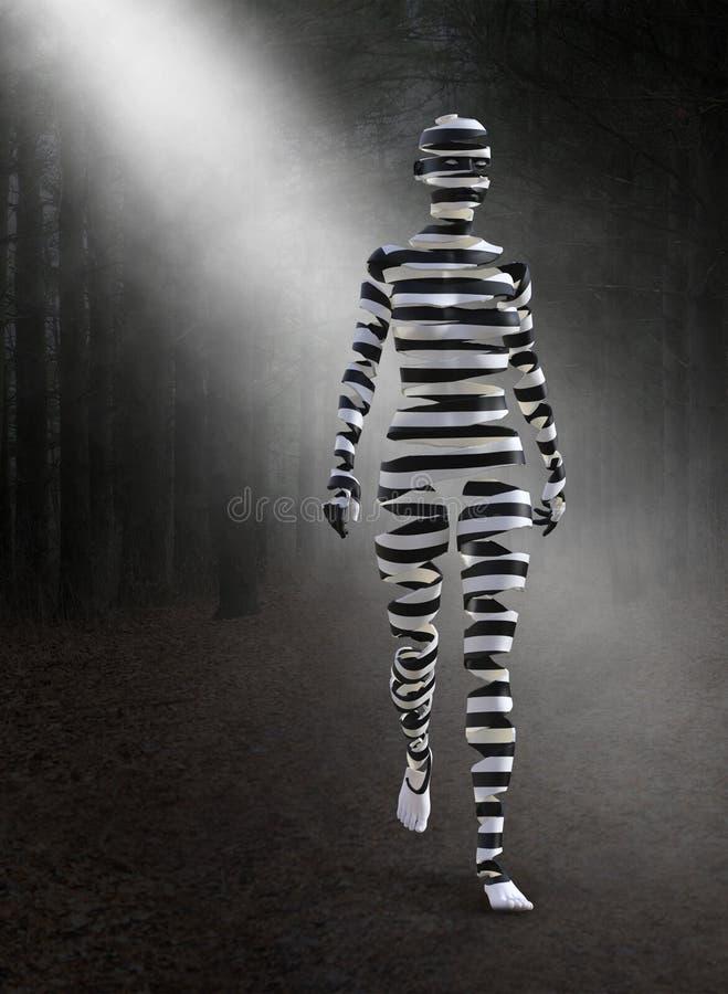 Mujer surrealista, bosque, bosque, cebra foto de archivo libre de regalías
