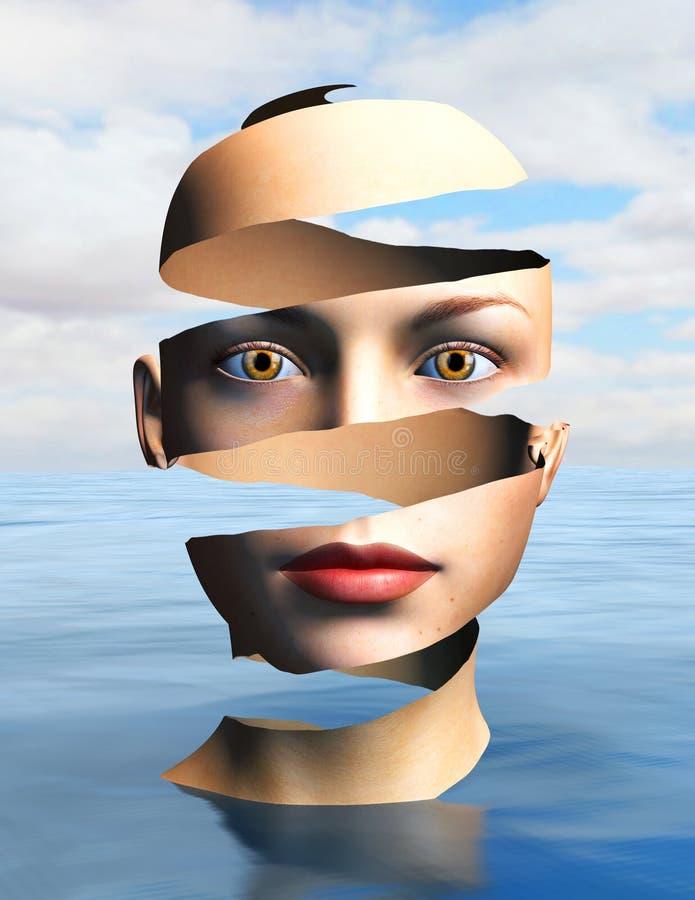 Mujer surrealista, piel pelada, surrealismo ilustración del vector