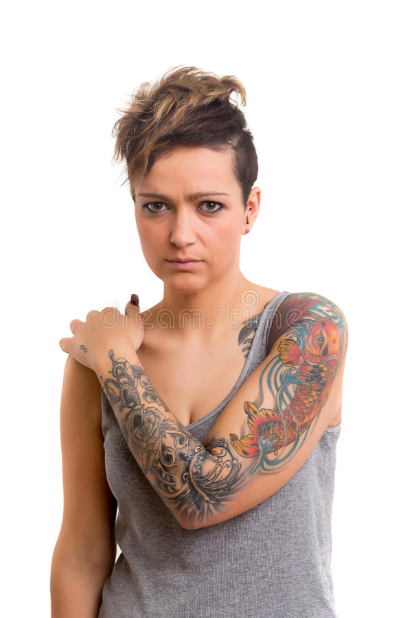 Mujer tatuada imagenes de archivo