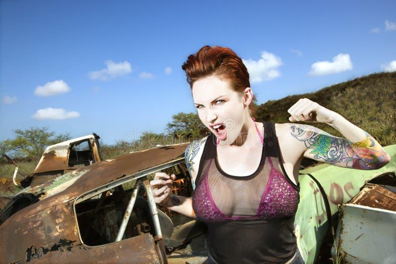 Mujer tatuada atractiva. imágenes de archivo libres de regalías