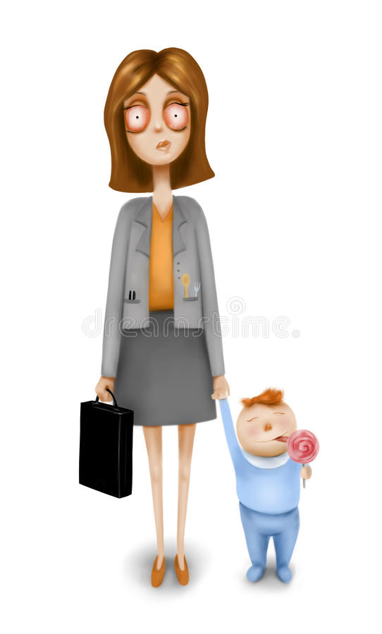 Mujer tensionada con el niño stock de ilustración