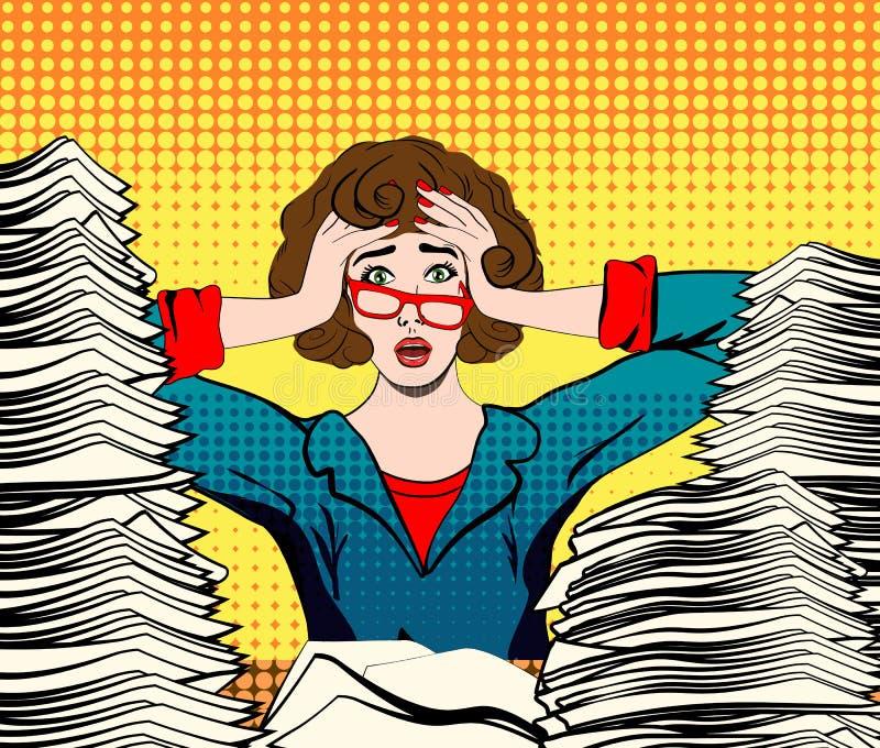 Mujer tensionada Trabajador tensionado empresaria en pánico una chica joven se sienta en su escritorio y lleva a cabo sus manos e stock de ilustración