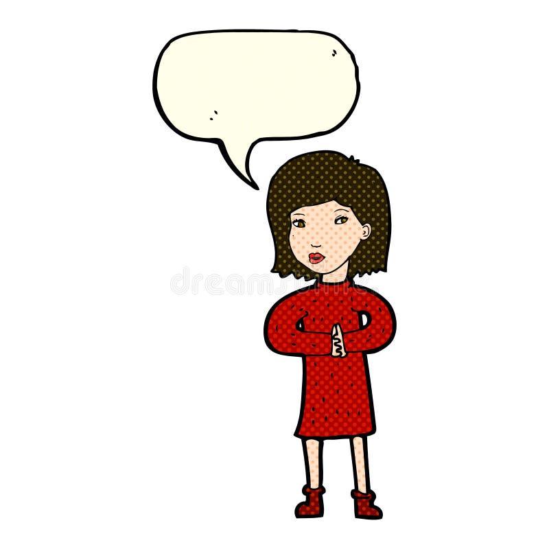 mujer tranquila de la historieta con la burbuja del discurso libre illustration