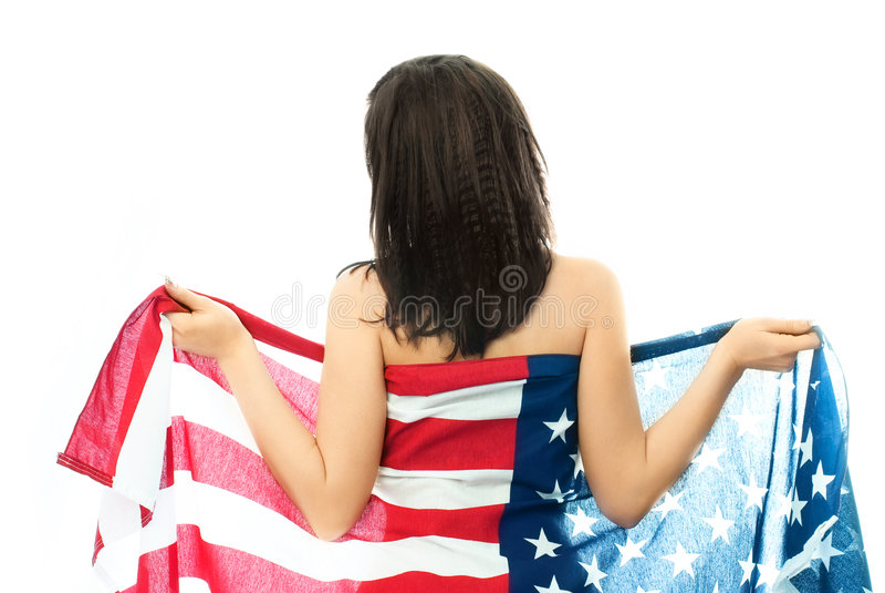 Mujer Triguena Desnuda Que Desgasta Un Indicador Americano Fotos de archivo