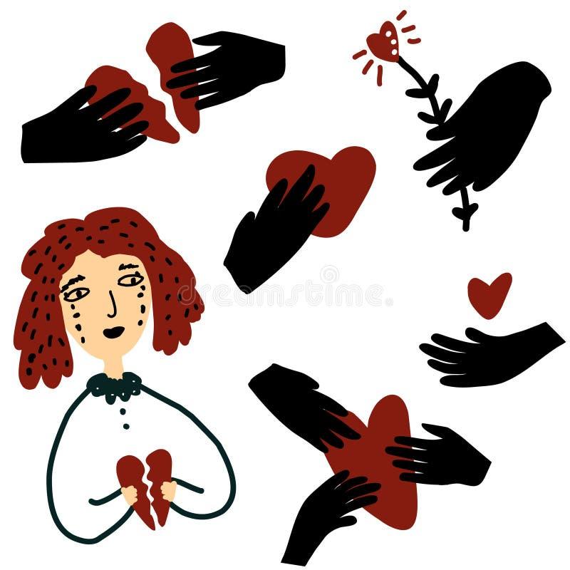 Mujer triste con el corazón quebrado Manos con los corazones angustia, amor, ejemplo del concepto de la relación ilustración del vector