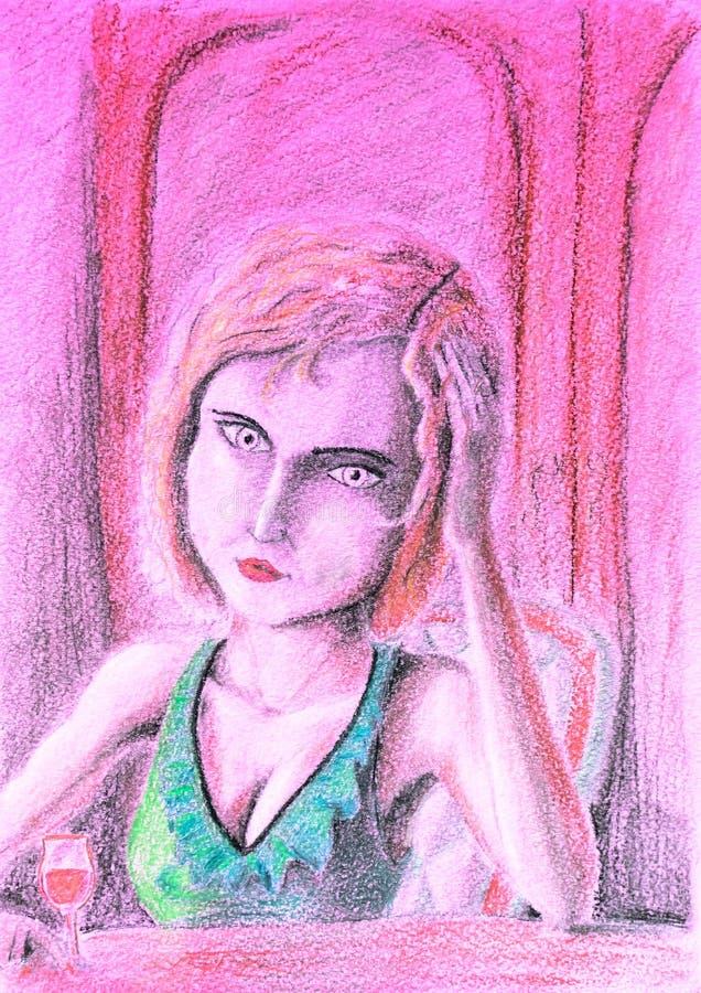 Mujer triste en la tabla que sostiene una copa de vino Consumición del dibujo de la depresión con los lápices stock de ilustración