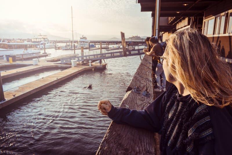 Mujer turística en el embarcadero 39, San Francisco, California, mirando leones marinos fotos de archivo libres de regalías