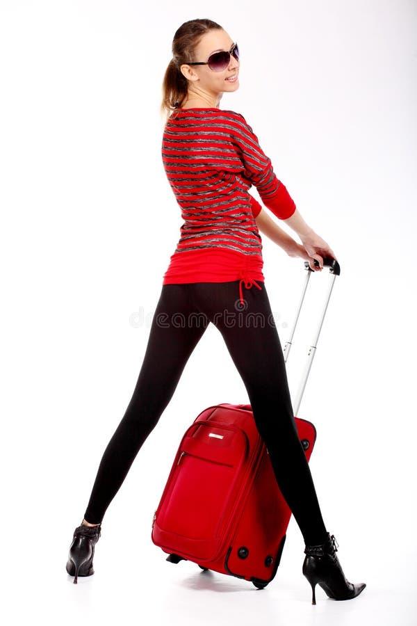 Mujer turística feliz imagenes de archivo