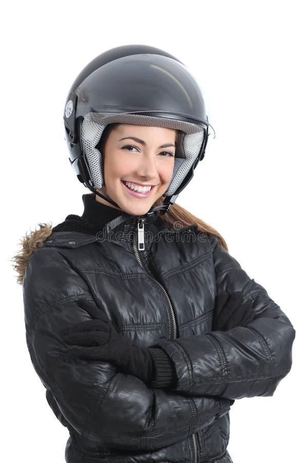 Mujer urbana hermosa del motorista con un casco foto de archivo libre de regalías