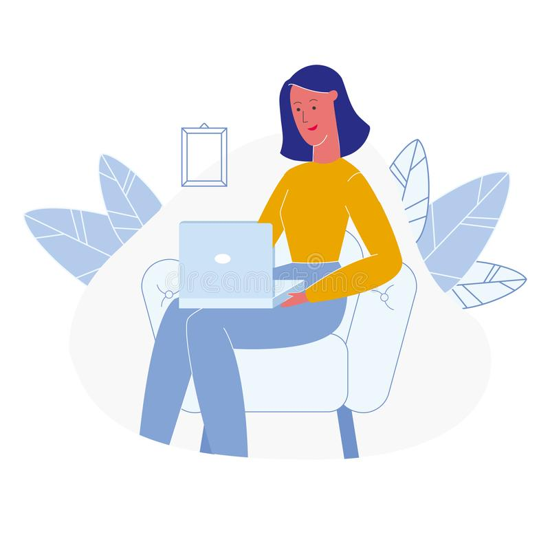 Mujer usando el ejemplo del vector de la historieta del ordenador portátil stock de ilustración