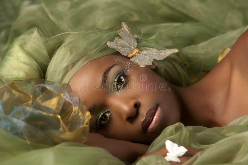 Mujer verde de la hada de la mariposa imagen de archivo