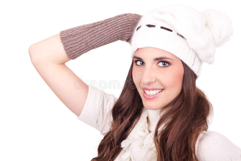 Mujer vestida en bufanda y sombrero foto de archivo libre de regalías