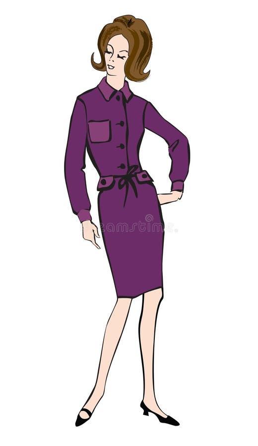 Mujer vestida moda (estilo de los años 60 de los años 50) stock de ilustración