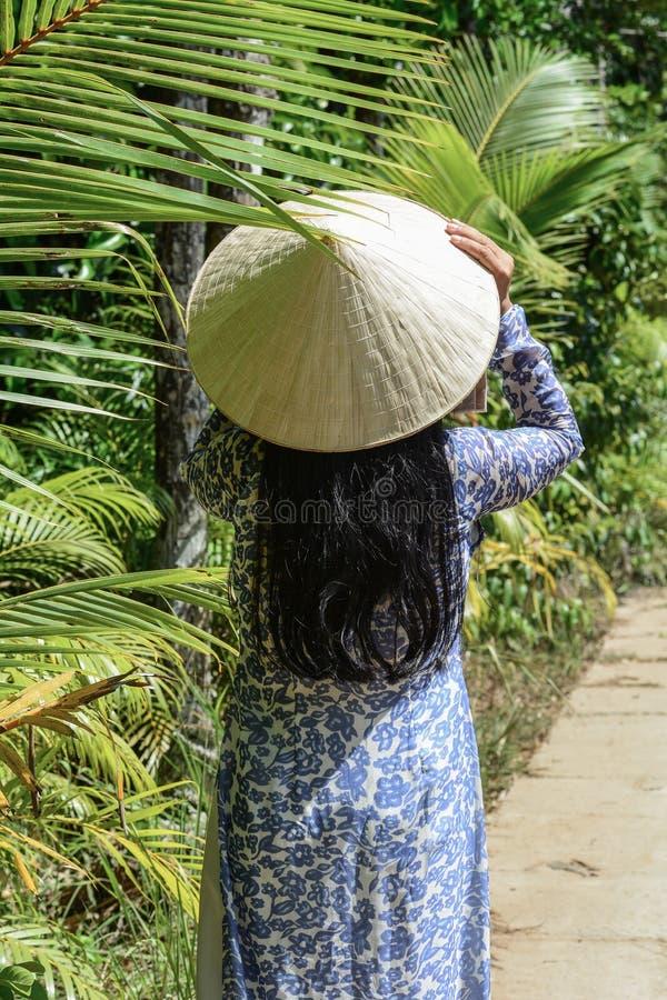 Mujer vietnamita con el vestido tradicional imagen de archivo