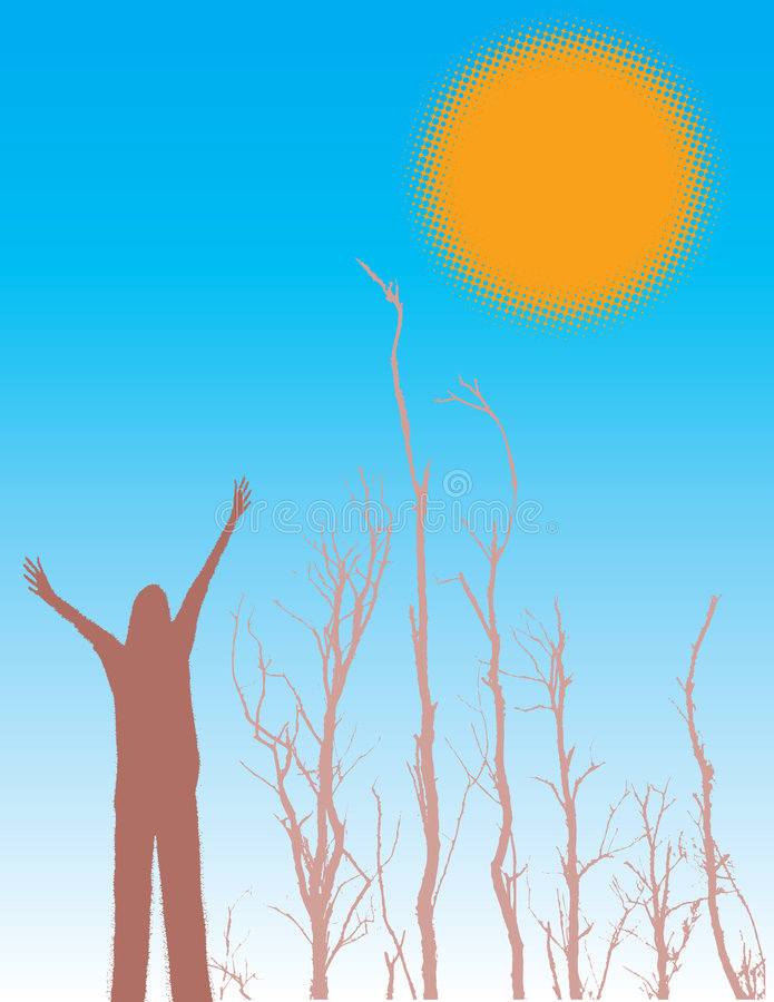 Mujer y árboles silueteados ilustración del vector