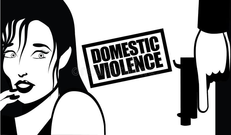 Mujer y arma de la violencia en el hogar stock de ilustración