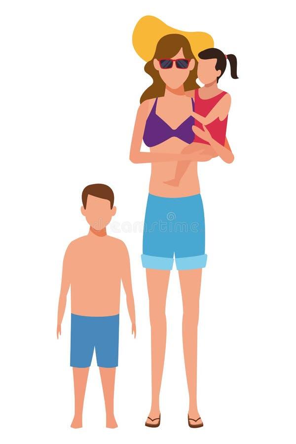 Mujer y avatar de los niños stock de ilustración
