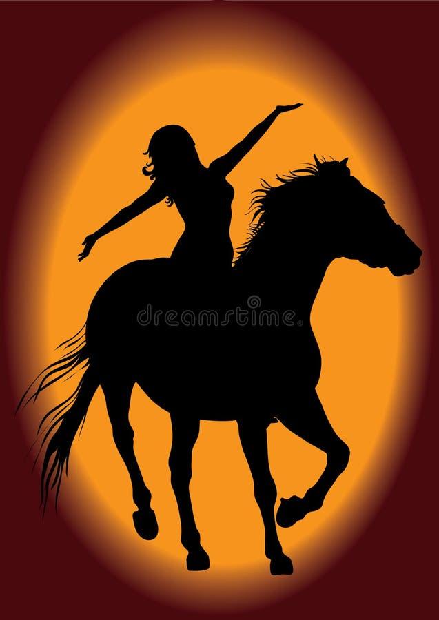 Mujer y caballo ilustración del vector