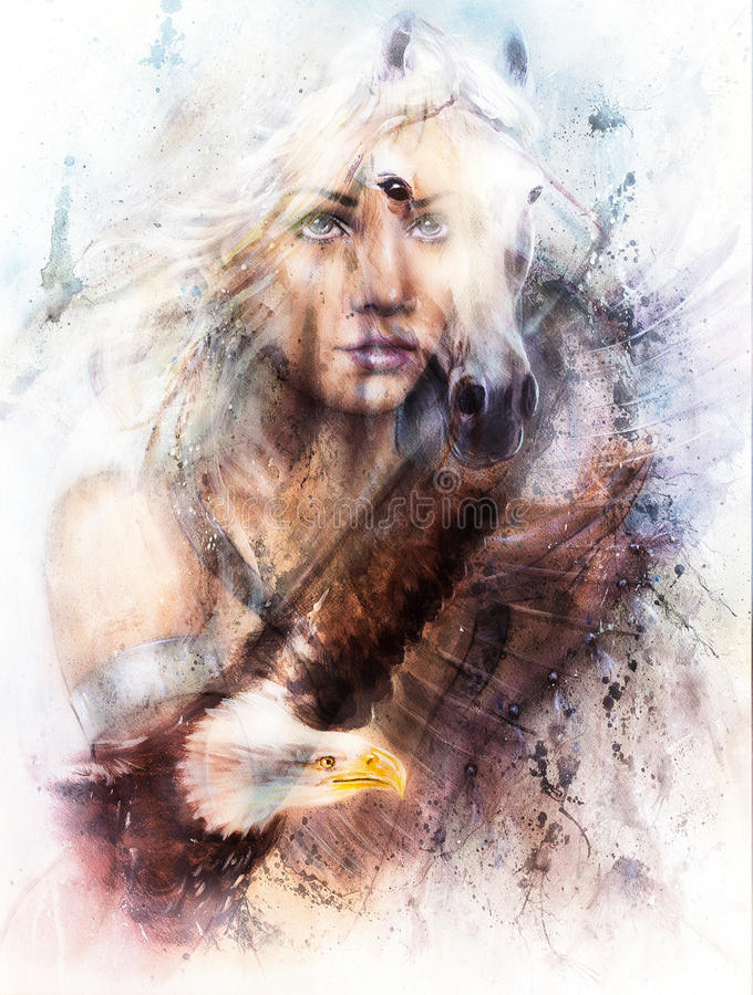 Mujer y caballo de la pintura con un collage del ejemplo de la pintura hermosa del águila del vuelo ilustración del vector