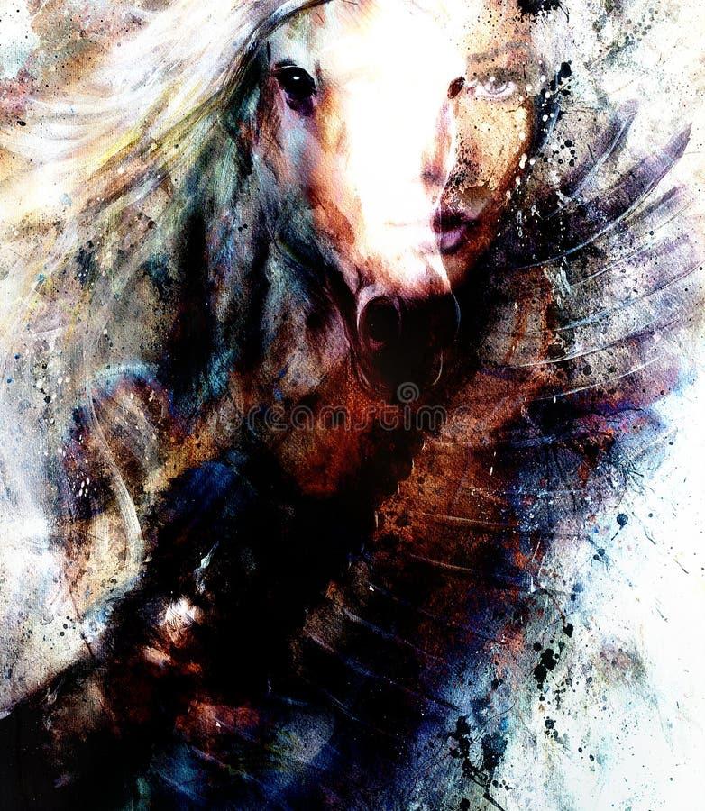 Mujer y caballo de la pintura hermosa con un collage del ejemplo de la pintura hermosa del águila del vuelo ilustración del vector