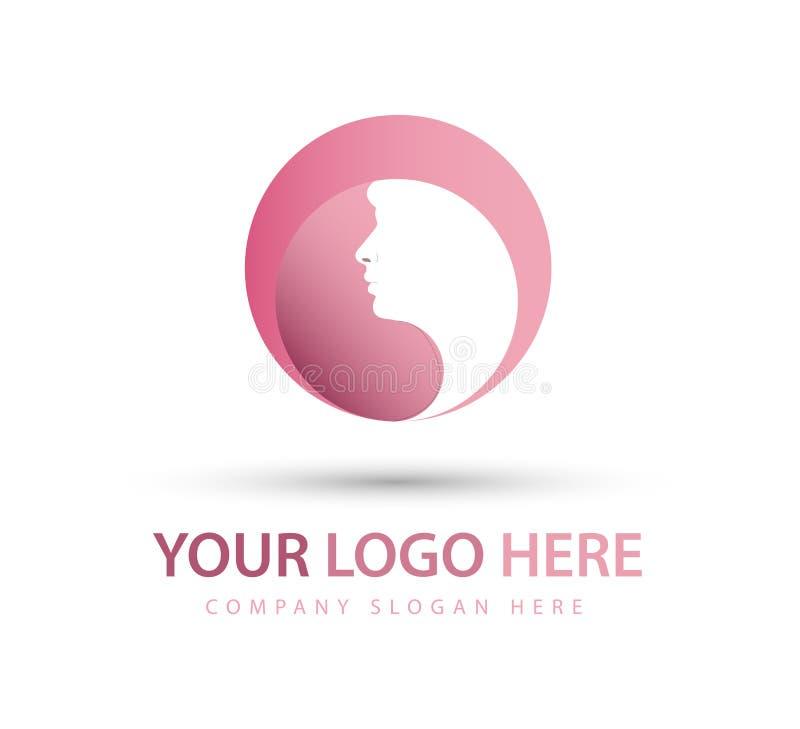 Mujer y cara del pelo, nuevo logotipo de moda rojo y símbolo del vector stock de ilustración