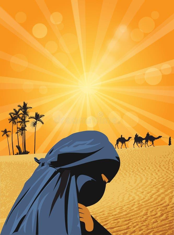 Mujer y caravana en Sáhara libre illustration
