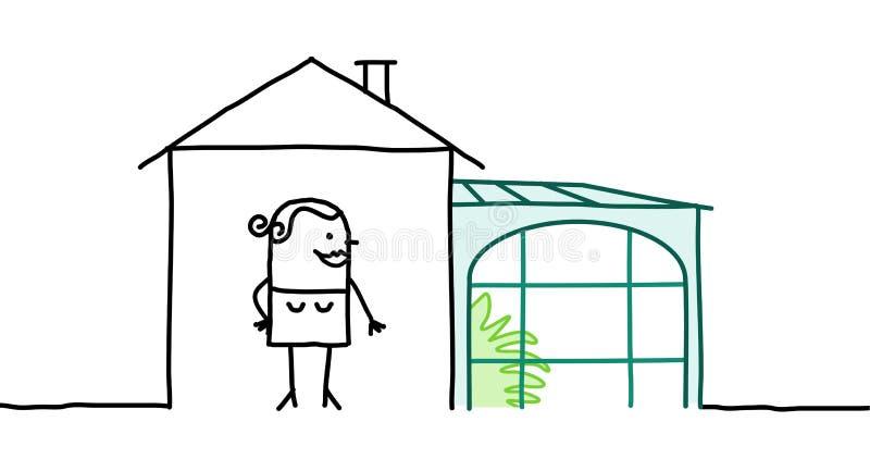 Mujer y casa con el mirador libre illustration