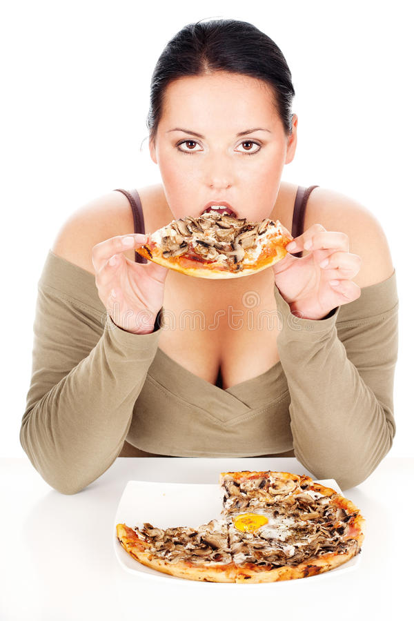 Mujer y de buen gusto pizza rechonchas fotos de archivo
