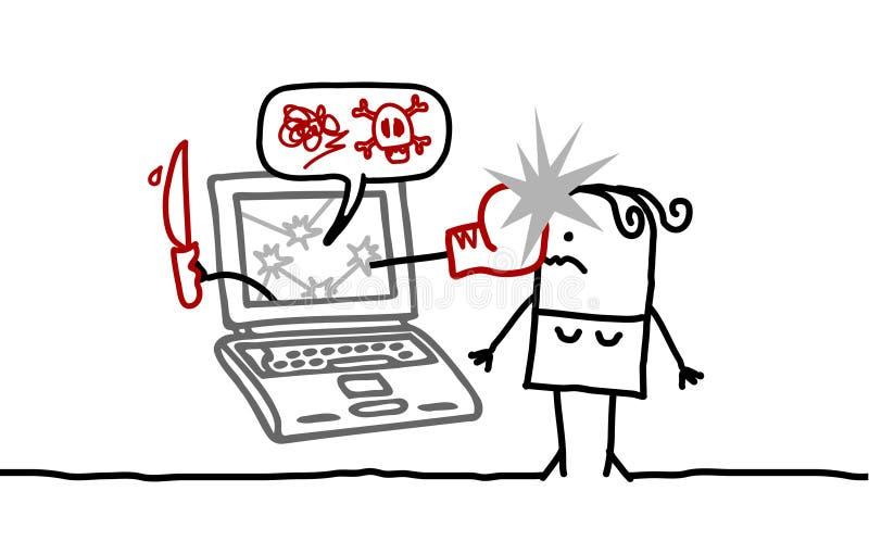 Mujer y el cyberbullying libre illustration