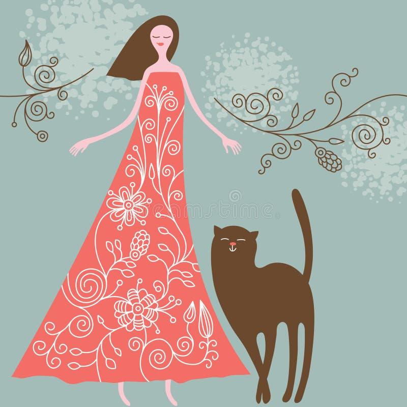 mujer y gato libre illustration