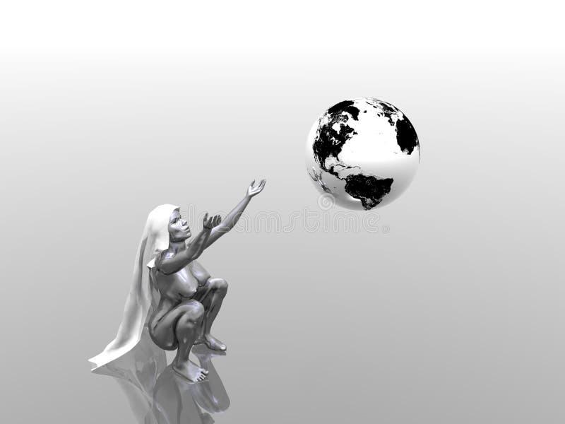Mujer y globo stock de ilustración
