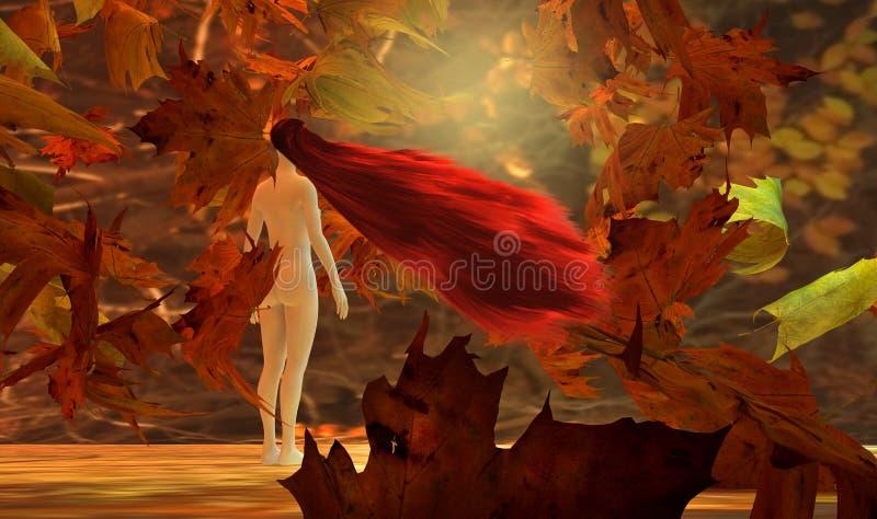 Mujer y hojas que caen ilustración del vector