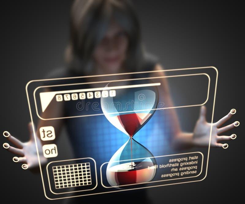Mujer y holograma con reloj de arena stock de ilustración
