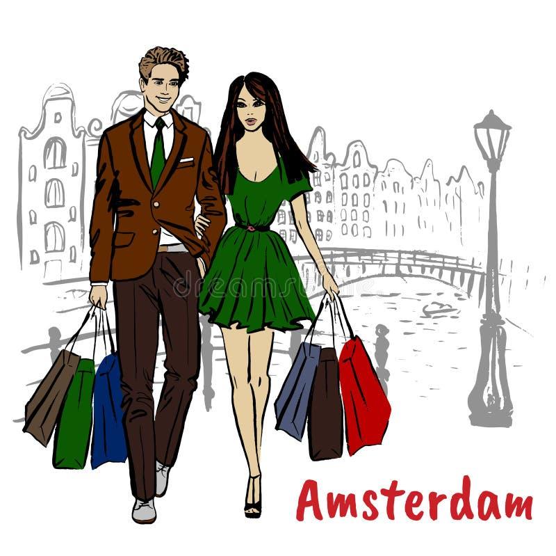 Mujer y hombre con los bolsos de compras stock de ilustración