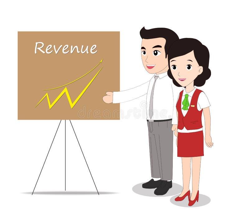 Mujer y hombre de negocios acertada que miran los ingresos stock de ilustración