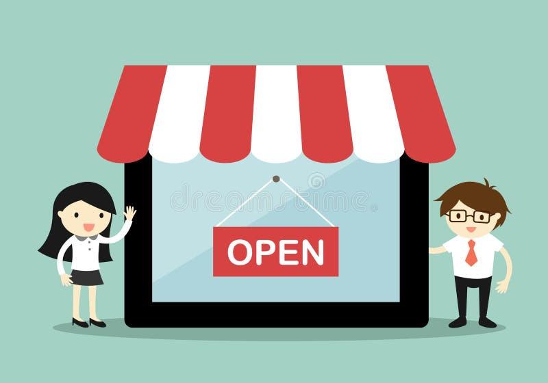 Mujer y hombre de negocios de negocios que se colocan al lado de la tienda en línea en la tableta, concepto en línea de las compr stock de ilustración