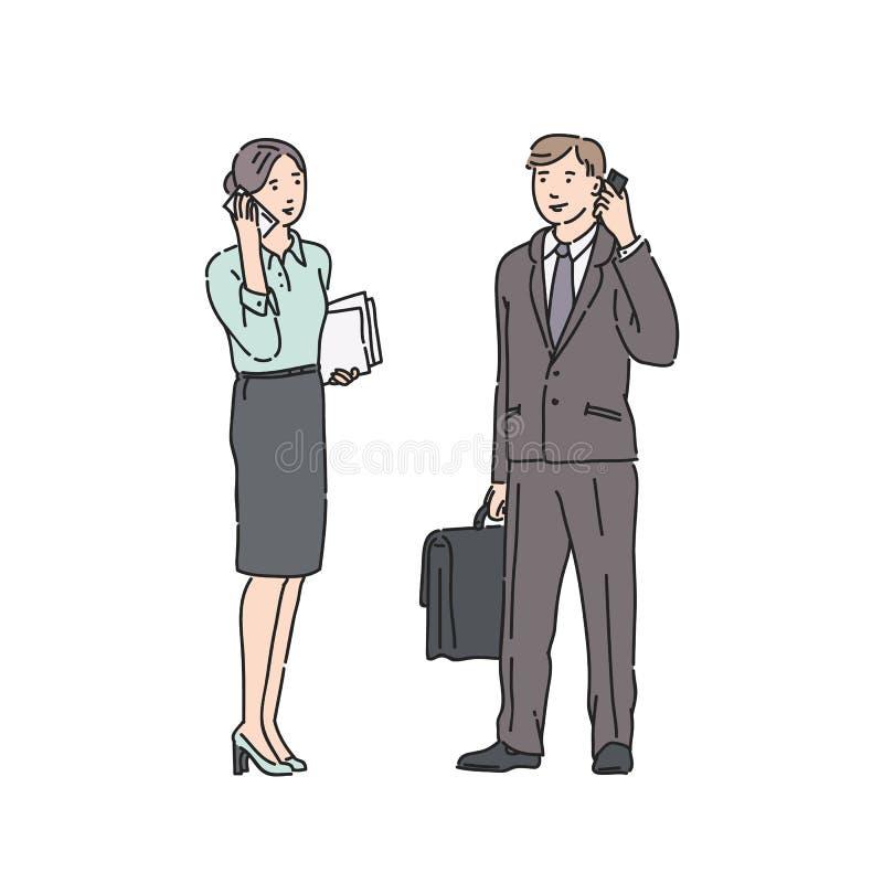 Mujer y hombre de negocios en traje estricto que hablan en el teléfono Ejemplo del vector en la línea estilo del arte aislado en  ilustración del vector