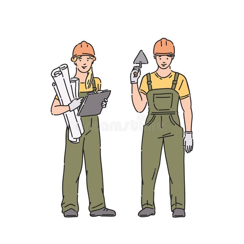 Mujer y hombre del constructor en uniforme profesional y casco protector Ejemplo de la gente del vector en la línea estilo del ar stock de ilustración