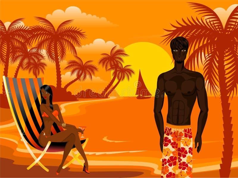 Mujer y hombre en una playa ilustración del vector