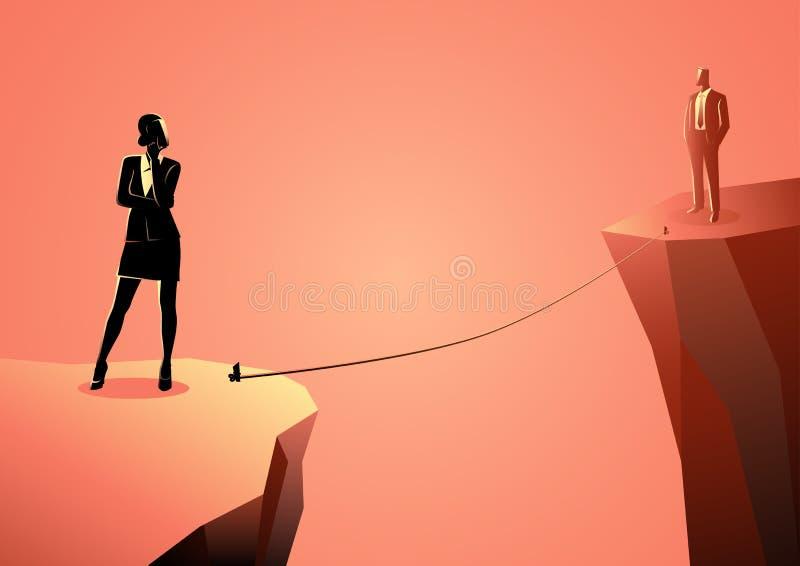 Mujer y hombre separados por un barranco ilustración del vector