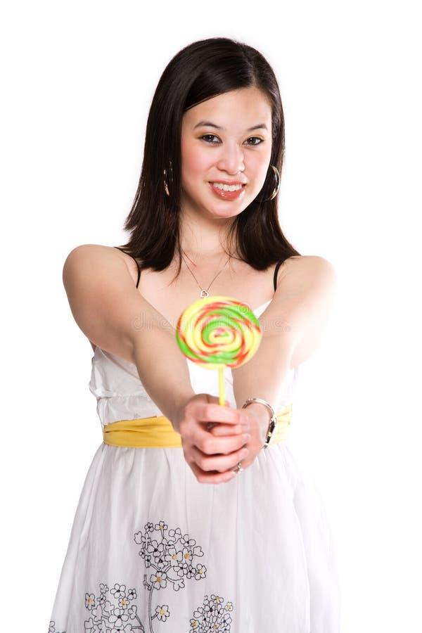 Mujer y lollipop fotos de archivo libres de regalías