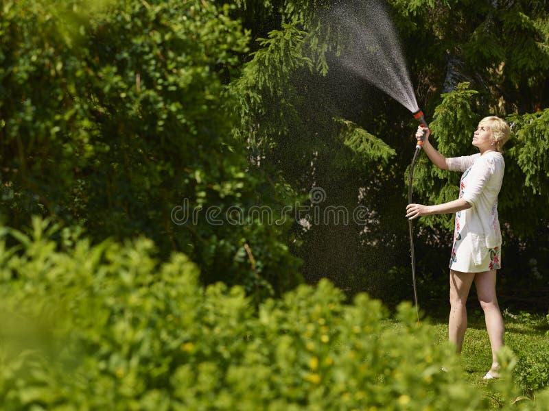 Mujer y manguera de jardín fotos de archivo libres de regalías