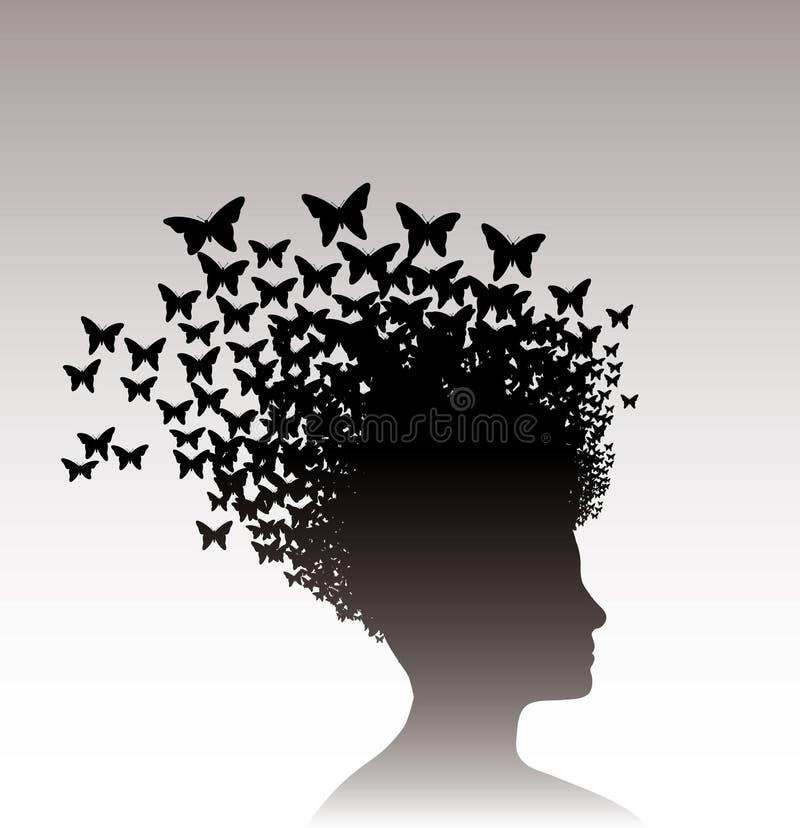 Mujer y mariposas ilustración del vector