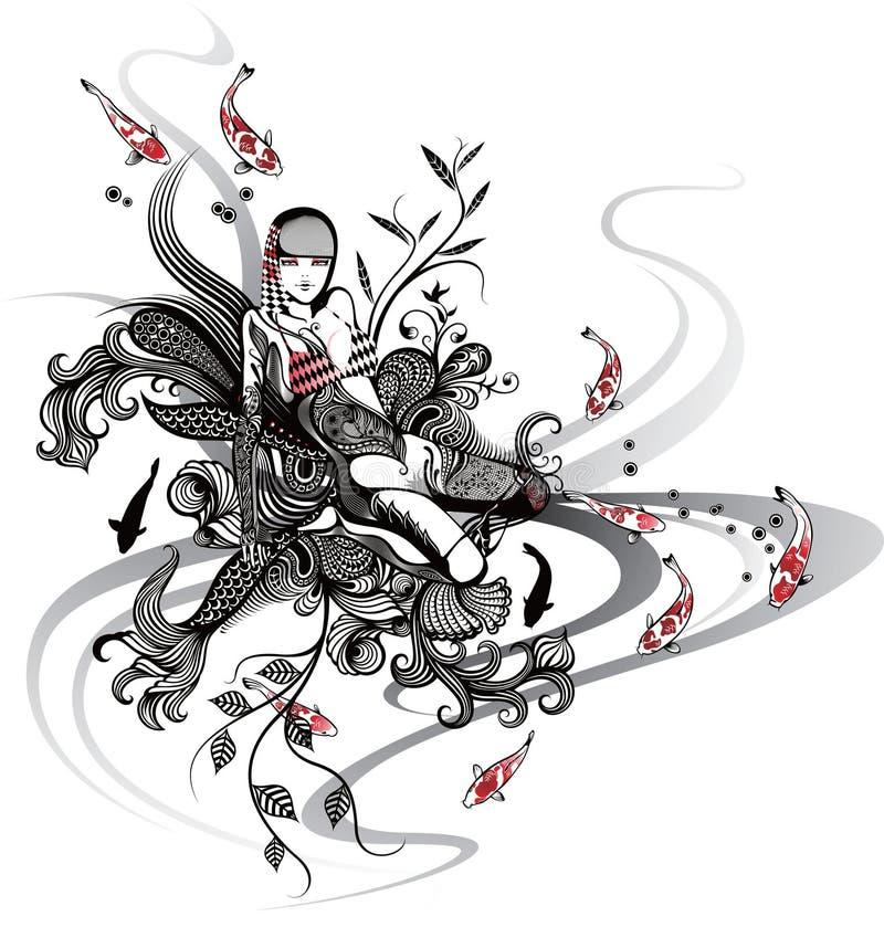 Mujer y pescados japoneses stock de ilustración
