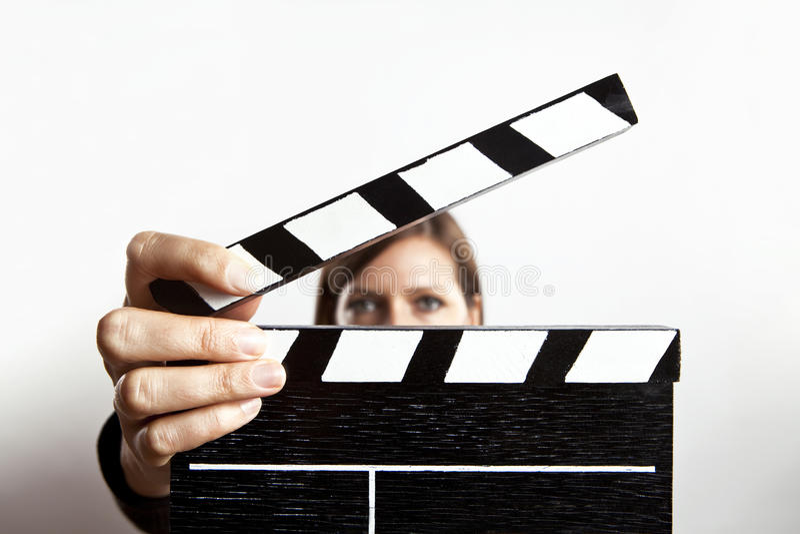 Mujer y pizarra imagen de archivo