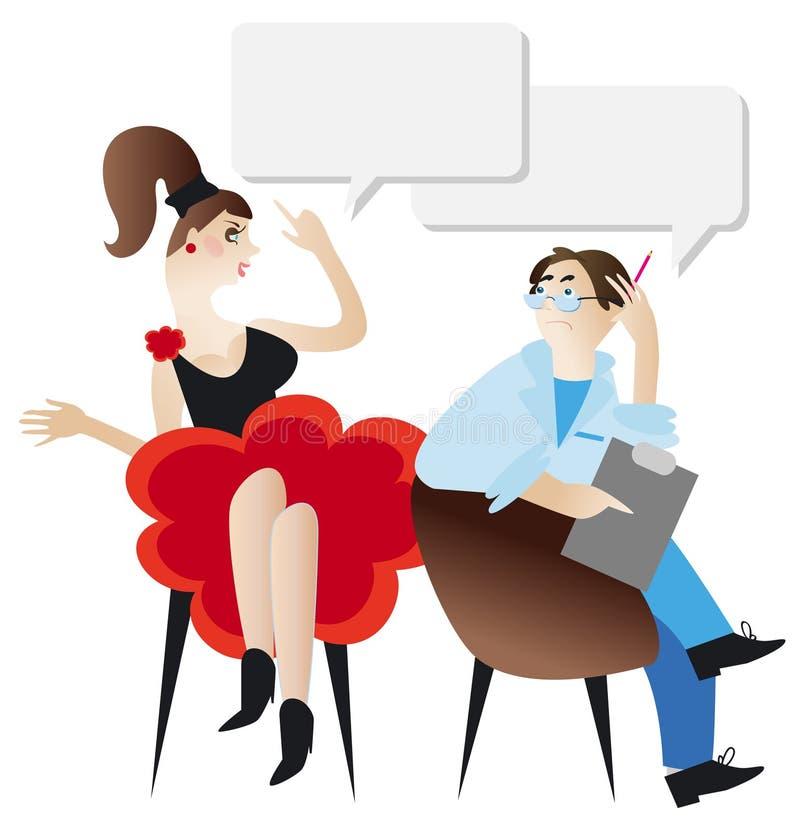 Mujer y psicólogo. libre illustration