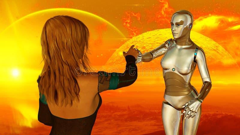 Mujer y robot en la tecnología de inteligencia artificial extraterrestre del planeta ilustración del vector