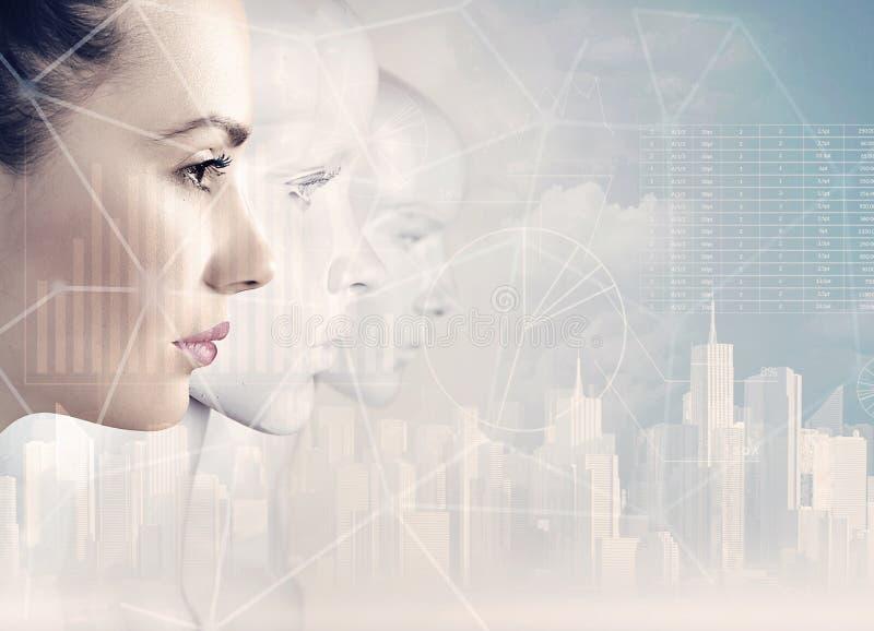 Mujer y robots - inteligencia artificial fotos de archivo libres de regalías