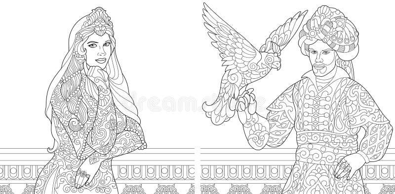 Mujer y sultán turcos del otomano con el pájaro stock de ilustración