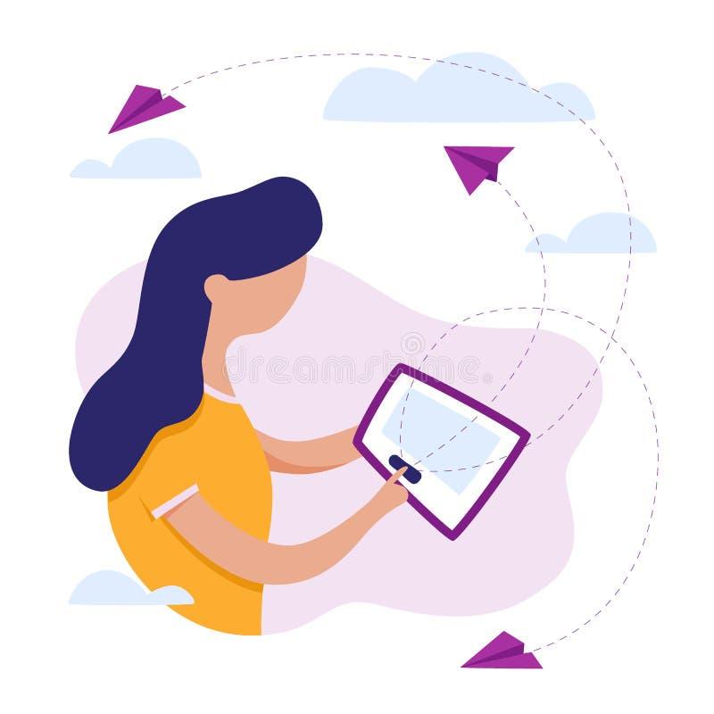 Mujer y tablilla Email Envío de letras Correo de letras Vector libre illustration